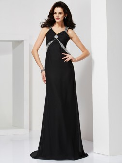 Sheath/Column Straps Sleeveless Beading Sweep/Brush Train Chiffon Dresses
