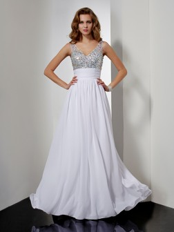 A-Line/Princess V-neck Rhinestone Sleeveless Floor-Length Chiffon Dresses