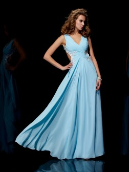 A-Line/Princess Straps Sleeveless Applique Beading Floor-Length Chiffon Dresses