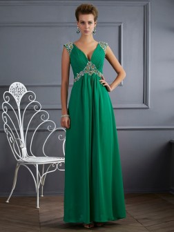 A-Line/Princess V-neck Short Sleeves Beading Ankle-Length Chiffon Dresses