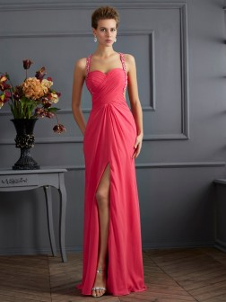 Empire Sweetheart Sleeveless Ruffles Floor-Length Chiffon Dresses