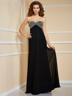 Sheath/Column Sweetheart Sleeveless Ruffles Beading Floor-Length Chiffon Dresses