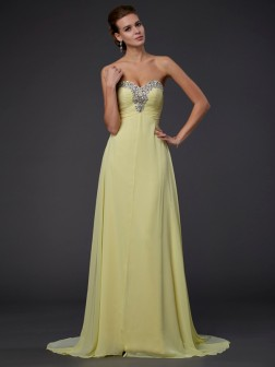 A-Line/Princess Sweetheart Beading Floor-Length Sleeveless Chiffon Dresses