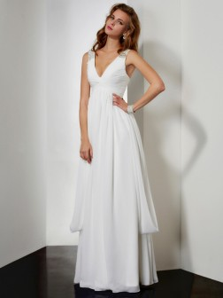 A-Line/Princess V-neck Sleeveless Rhinestone Floor-Length Chiffon Dresses