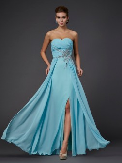 Sheath/Column Sleeveless Sweetheart Beading Floor-Length Chiffon Dresses