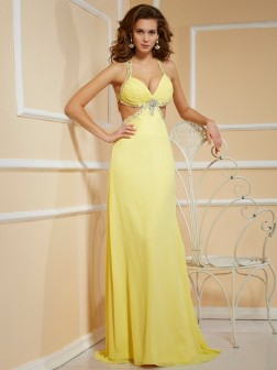 Sheath/Column Spaghetti Straps Sleeveless Beading Floor-Length Chiffon Dresses