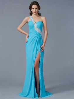 Sheath/Column One-Shoulder Sleeveless Beading Applique Sweep/Brush Train Chiffon Dresses