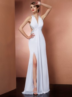 A-Line/Princess Halter Sleeveless Applique Beading Floor-Length Chiffon Dresses