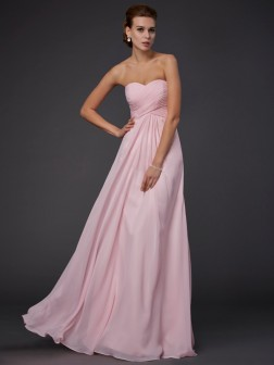 Sheath/Column Sweetheart Sleeveless Ruffles Floor-Length Chiffon Dresses