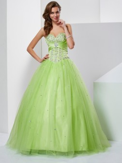 Ball Gown Sweetheart Beading Sleeveless Floor-Length Tulle Dresses