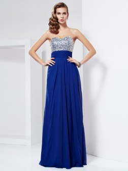 Sheath/Column Sweetheart Sleeveless Rhinestone Floor-Length Chiffon Dresses