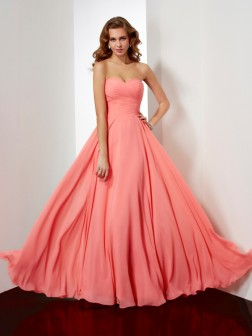 A-Line/Princess Sleeveless Sweetheart Pleats Floor-Length Chiffon Dresses