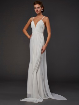 Trumpet/Mermaid V-neck Sleeveless Ruffles Floor-Length Chiffon Dresses