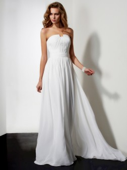 A-Line/Princess Strapless Sleeveless Pleats Ruffles Floor-Length Chiffon Dresses