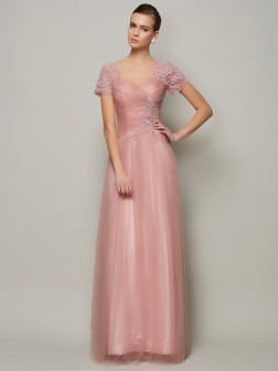 A-Line/Princess Sweetheart Short Sleeves Beading Floor-Length Satin Dresses