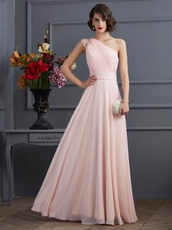 A-Line/Princess One-Shoulder Sleeveless Floor-Length Beading Chiffon Dresses