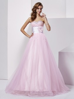 Ball Gown Strapless Sleeveless Beading Floor-Length Elastic Woven Satin Dresses