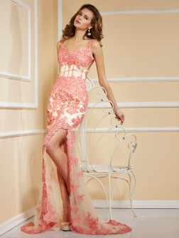 Sheath/Column Straps Sleeveless Applique Sweep/Brush Train Net Dresses