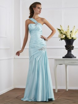 Trumpet/Mermaid One-Shoulder Sleeveless Ruched Floor-Length Elastic Woven Satin Dresses