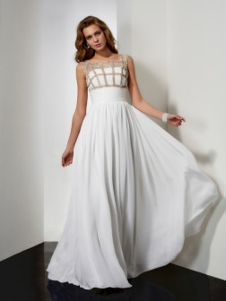 A-Line/Princess Straps Sleeveless Beading Chiffon Floor-Length Dresses