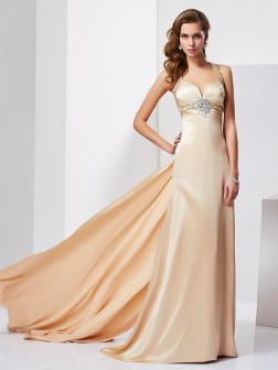 Sheath/Column Halter Sleeveless Ruffles Sweep/Brush Train Silk like Satin Dresses