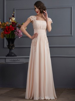 A-Line/Princess Square Short Sleeves Lace Floor-Length Chiffon Dresses