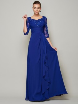A-Line/Princess Scoop 3/4 Sleeves Lace Floor-Length Chiffon Mother of the Bride Dresses