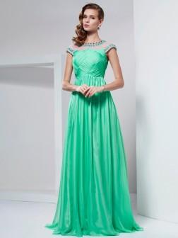 A-Line/Princess High Neck Short Sleeves Ruffles Floor-Length Chiffon Dresses