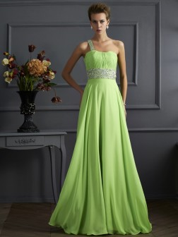 A-Line/Princess Sleeveless Beading One-Shoulder Chiffon Floor-Length Dresses