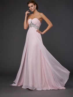 A-Line/Princess Sweetheart Floor-Length Sleeveless Beading Chiffon Dresses