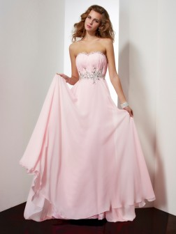A-Line/Princess Sweetheart Sleeveless Beading Applique Sweep/Brush Train Chiffon Dresses
