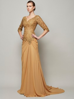 Sheath/Column V-neck 1/2 Sleeves Lace Floor-Length Chiffon Dresses