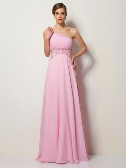 A-Line/Princess One-Shoulder Sleeveless Sweep/Brush Train Beading Chiffon Dresses