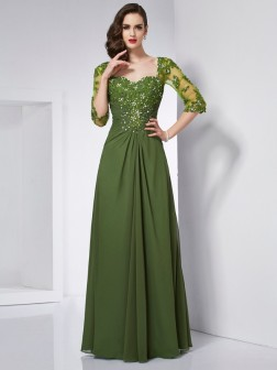 A-Line/Princess Sweetheart 3/4 Sleeves Beading Floor-Length Chiffon Dresses