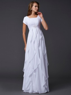 Sheath/Column Square Short Sleeves Ruffles Floor-Length Chiffon Dresses
