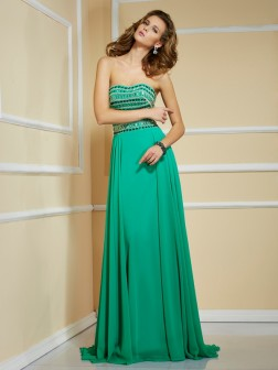 A-Line/Princess Strapless Sleeveless Rhinestone Sweep/Brush Train Chiffon Dresses
