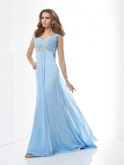 A-Line/Princess Sleeveless Beading Sweetheart Sweep/Brush Train Chiffon Dresses