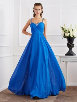 A-Line/Princess Spaghetti Straps Sleeveless Beading Applique Floor-Length Chiffon Dresses