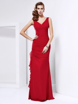 Sheath/Column V-neck Sleeveless Ruched Floor-Length Chiffon Dresses