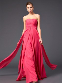Sheath/Column Sweetheart Sleeveless Ruffles Sweep/Brush Train Chiffon Dresses