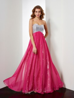 A-Line/Princess Sleeveless Beading Sweetheart Floor-Length Chiffon Dresses