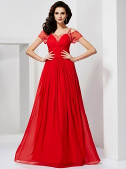 A-Line/Princess Spaghetti Straps Short Sleeves Ruffles Floor-Length Chiffon Dresses