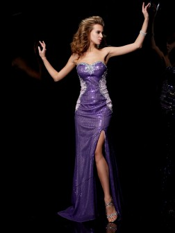 Sheath/Column Sweetheart Beading Sleeveless Sweep/Brush Train Elastic Woven Satin Dresses