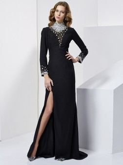 Sheath/Column High Neck Long Sleeves Rhinestone Sweep/Brush Train Chiffon Dresses