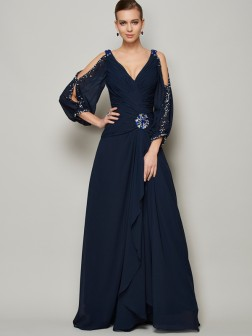 A-Line/Princess V-neck Long Sleeves Beading Ankle-Length Chiffon Dresses