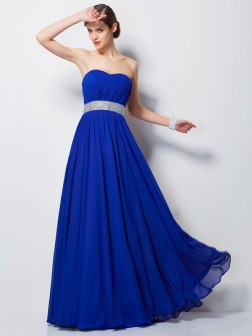 Empire Sweetheart Sleeveless Beading Floor-Length Chiffon Dresses