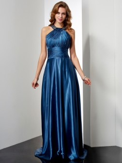 A-Line/Princess Halter Sleeveless Ruffles Floor-Length Elastic Woven Satin Dresses