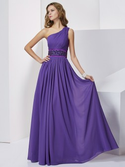 Empire One-Shoulder Sleeveless Beading Floor-Length Chiffon Dresses