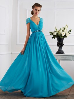 A-Line/Princess V-neck Beading Short Sleeves Floor-Length Chiffon Dresses