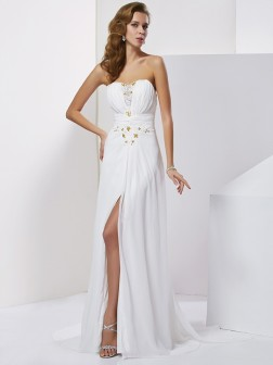 A-Line/Princess Sweetheart Applique Sleeveless Beading Sweep/Brush Train Chiffon Dresses